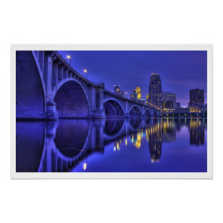 Twilight-Minneapolis 3rd Ave Bridge Poster
