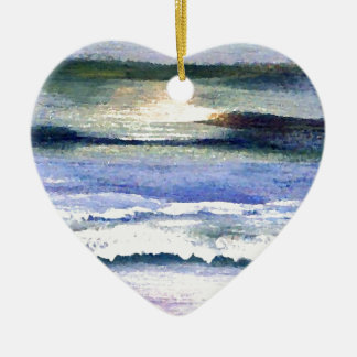 Twilight Ocean Waves Beach Surf Decor Art Ceramic Heart Decoration
