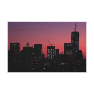 Twilight: One World Trade Center lit up in pink Canvas Print