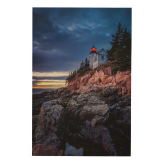 Twilight Over Bass Harbor Lighthouse, Acadia Wood Canvases