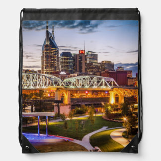Twilight over Cumberland Park and downtown Drawstring Bag