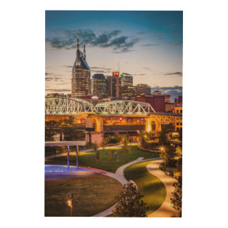 Twilight over Cumberland Park and downtown Wood Wall Decor