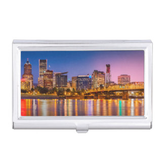 Twilight Over The Willamette River And Portland Business Card Holder