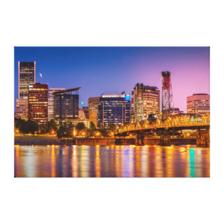 Twilight Over The Willamette River And Portland Stretched Canvas Print