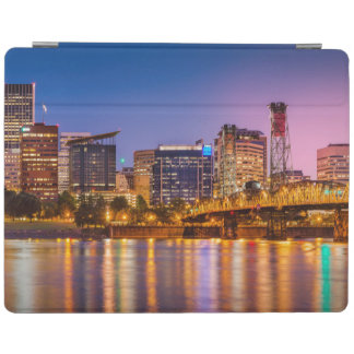 Twilight Over The Willamette River And Portland iPad Cover