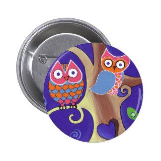 Twilight Owls 6 Cm Round Badge