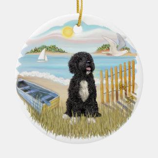 Twilight - Portuguese Water Dog #5 (bw) Christmas Ornament