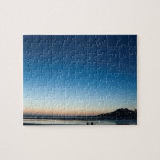 Twilight sea scape, night lights, Yechats, Oregon Jigsaw Puzzle
