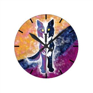 Twilight Sky Wolf Round Clock
