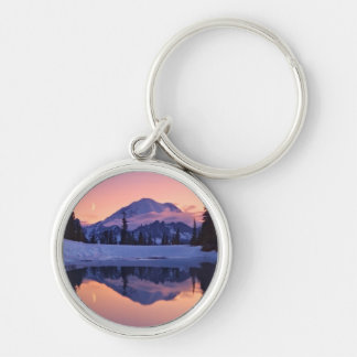 Twilight, Tarn and Crescent Moon Silver-Colored Round Key Ring