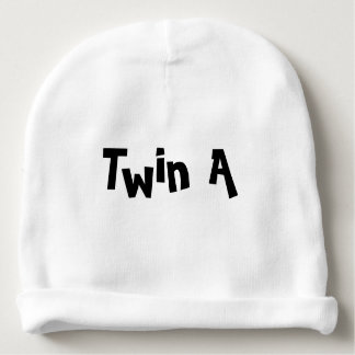 Twin A Baby Hat White Part of set of 2 for Twins Baby Beanie