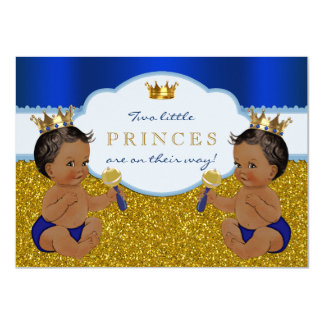 Twin African American Prince Baby Shower 11 Cm X 16 Cm Invitation Card