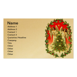 Twin Angels Surround Christmas Tree Business Card Templates