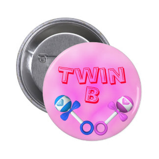 Twin B Button (pink)
