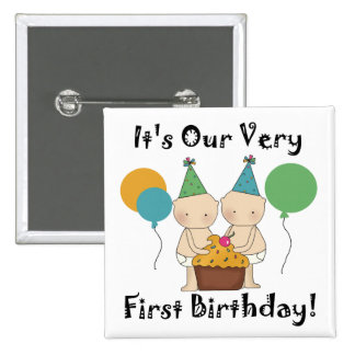 Twin Babies 1st Birthday Tshirts and Gifts 15 Cm Square Badge