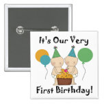 Twin Babies 1st Birthday Tshirts and Gifts Button