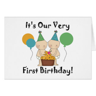 Twin Babies 1st Birthday Tshirts and Gifts Greeting Card