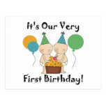 Twin Babies 1st Birthday Tshirts and Gifts Postcards