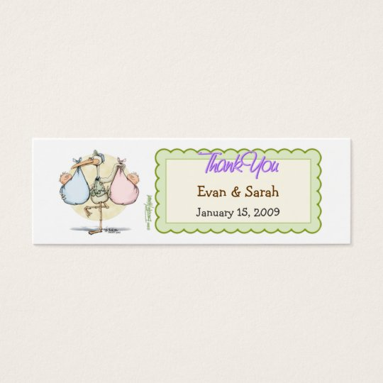 Twin Babies Stork Favour Tag