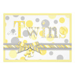 Twin Babies Yellow Grey Dots Baby Shower Custom Invites