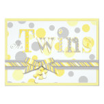 Twin Babies Yellow Grey Dots Baby Shower Custom Invites