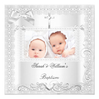 Twin Baby Baptism Girl Boy Christening White Lace Card