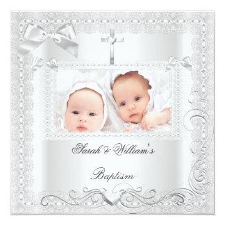 Twin Baby Baptism Girl Boy Christening White Lace Custom Invite