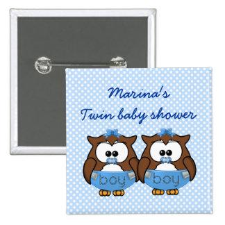 twin baby boy owl 15 cm square badge