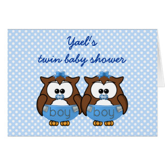 twin baby boy owl card