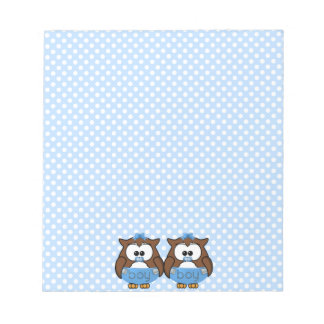 twin baby boy owl notepad