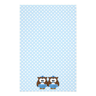 twin baby boy owl stationery