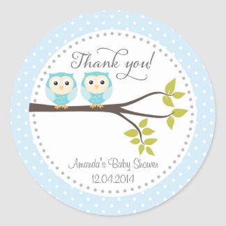 Twin Baby Boys Owls Baby Shower Sticker