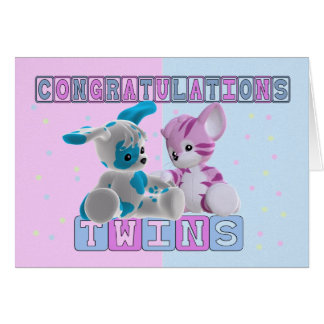 Twin Baby Congratulations Card