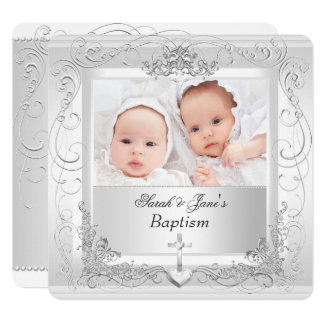 Twin Baby Girl Boy Christening Baptism White 2a Card