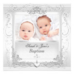 Twin Baby Girl Boy Christening Baptism White Personalised Invitations