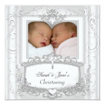 Twin Baby Girl or Boy Christening Baptism White Announcements
