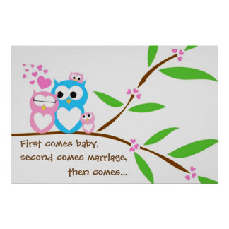 Twin Baby Girl Owls Poster with Customised Text