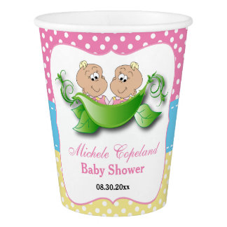 Twin Baby Girl Shower - Two Peas In A Pod Paper Cup