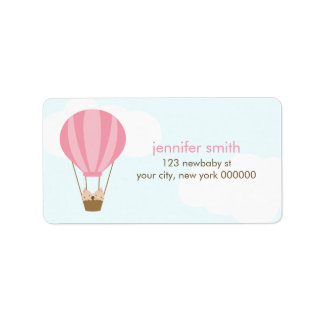 Twin Baby Girls in a Balloon Address Label