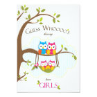 Twin Baby Girls Shower Invitation - Owl Family