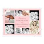Twin Baby Photo Collage Baby Announcement | Pink