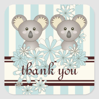 Twin Baby Shower / Birthday Thank You Light Blue Square Sticker