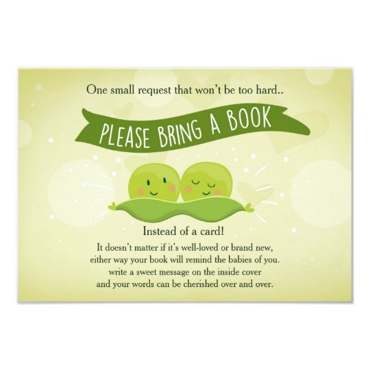 Twin Baby shower Bring a book Two Peas