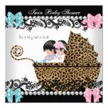 Twin Baby Shower Cute Girl Pink Boy Blue Leopard Custom Invitation
