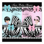 Twin Baby Shower Cute Girl Pink Boy Blue Zebra