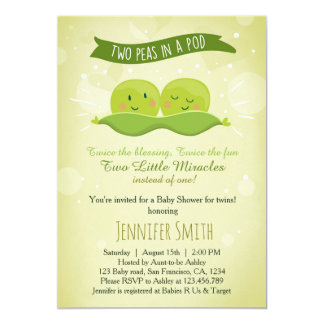 Twin Baby Shower Invitation Two Peas In A Pod