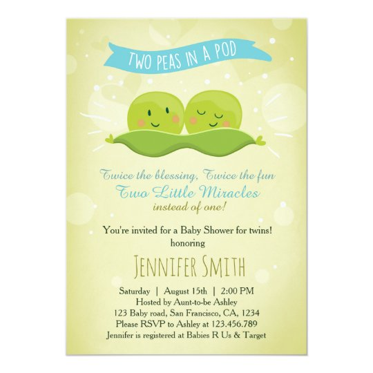 Twin Baby Shower Invitation Two Peas In A