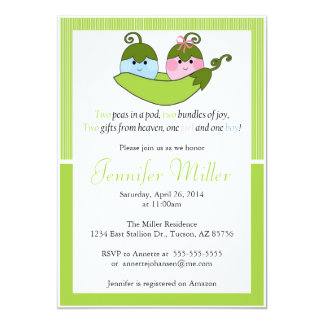 Twin Baby Shower Invitation, Two Peas In A Pod Card