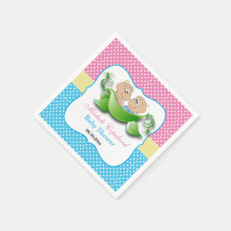 Twin Baby Shower - Two Peas In A Pod Disposable Serviette