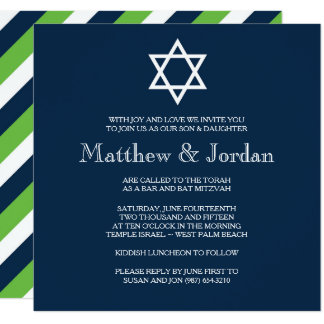 Twin Bar Mitzvah Invitation - Modern